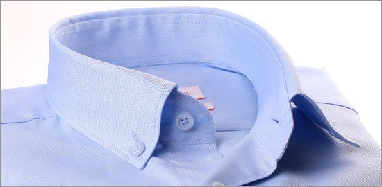 Chemise à col boutonné bleu clair à petits pois ton sur ton