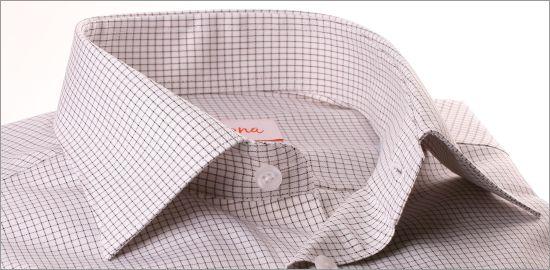 Chemise blanche à fins carreaux marrons