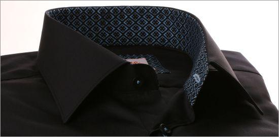 Chemise noire à col et poignets à motifs bleu ciel