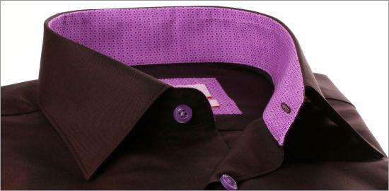 Chemise marron à col et poignets à motifs gouttes lilas