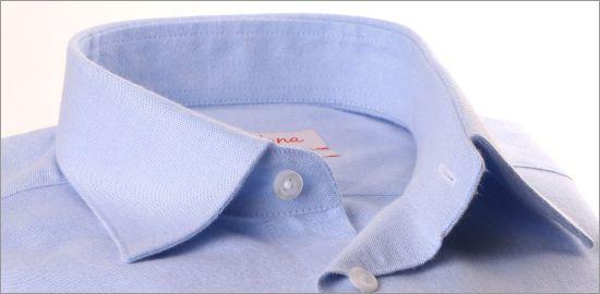Chemise bleu ciel en coton brossé