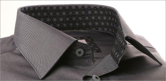 Chemise grise à col et poignets noirs à motifs gris