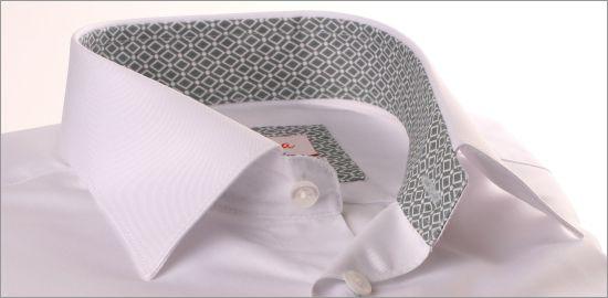 Chemise blanche poignets mousquetaires à col et poignets à losanges gris