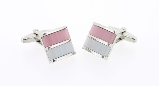 Boutons de manchette carrés avec pierres rose et blanche