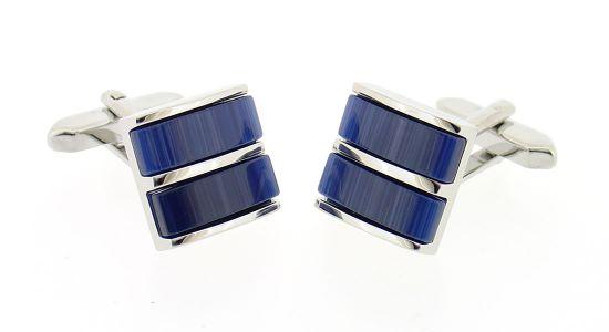 Boutons de manchette carrés avec deux pierres bleu nuit