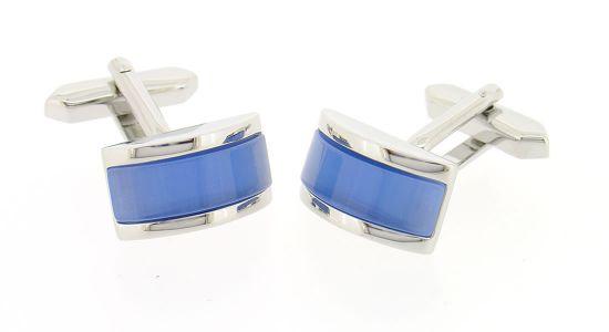 Boutons de manchette demi cylindre bleu
