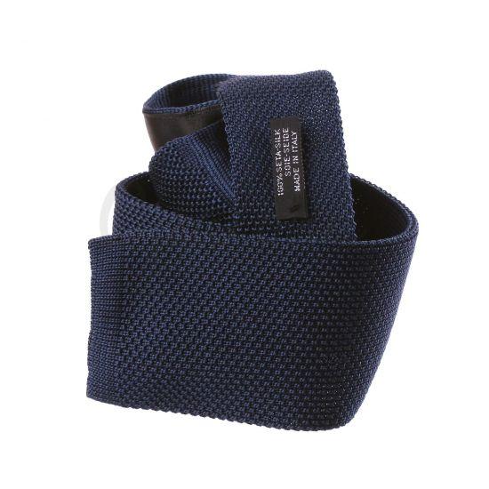 Cravate tricot en soie marine