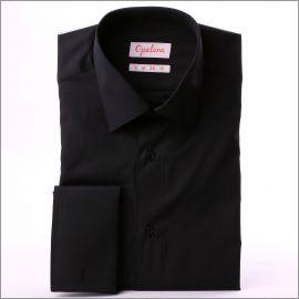 Chemise noire tissu popeline à poignets mousquetaires