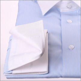 Chemise rayée bleue et blanc à col et poignets mousquetaires blancs