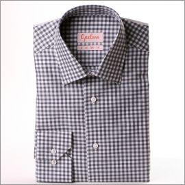 Chemise à carreaux gris et blancs