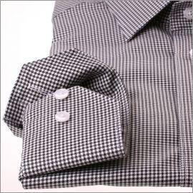 Chemise à petits carreaux pied de poule noirs et blancs