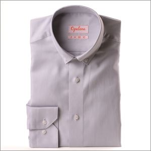 Chemise grise tissu Pin Point col boutonné