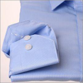 Chemise tissu natté bleu ciel