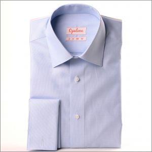 Chemise tissu natté bleu clair et blanc