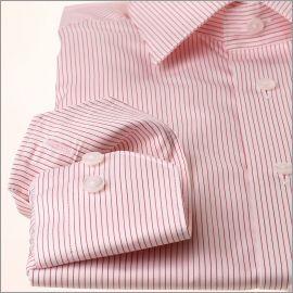 Chemise à fines rayures rouges