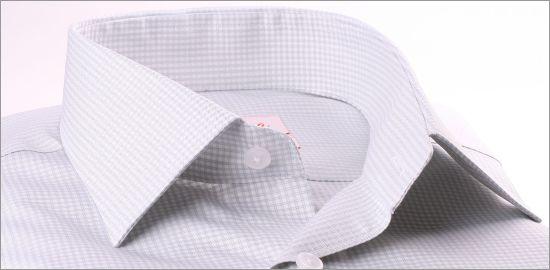 Chemise à petits carreaux gris et blancs