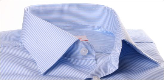 Chemise à fines rayures bleues et blanches