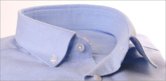 Chemise bleu ciel en coton brossé col boutonné