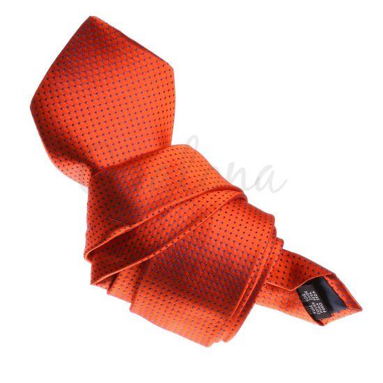 Cravate orange à petits pois bleu marine